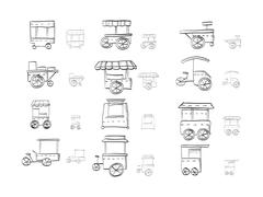 Sketch icons vector collection for food trolley - stock illustration