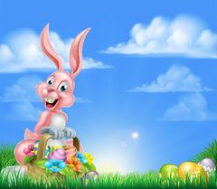 Cartoon Pink Easter Bunny Egg Hunt - stock illustration