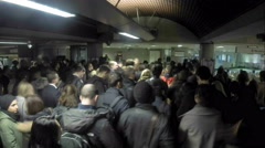 Huge Crowd At Metro Station - stock footage