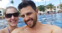 Happy couple having fun on the swimming pool Stock Footage