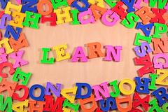 Learn written by plastic colorful letters - stock photo