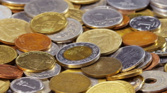 Many different coins collection background  Stock Footage