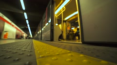 Train departs from the metro station. 4K Stock Footage