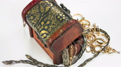 Circulating Treasure Chest full of jewerly, close up rotation. - stock footage