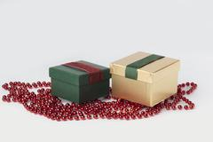 Two presents, green and gold, with ribbons, isolated - stock photo