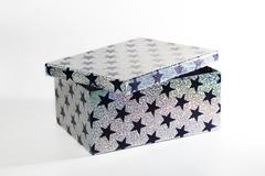 Giftbox with glitters and stars, isolated - stock photo