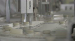 Work processing of clinical chemistry analyzer of blood samples, focus change. Stock Footage