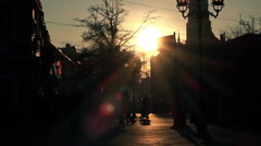 Unrecognizable crowd of people walking on city street Stock Footage