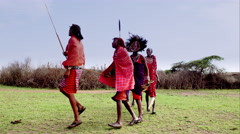 Massai warriors dancing - stock footage