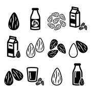 Almonds, almond milk vector icons set - stock illustration
