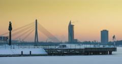 Stock Video Footage of Winter golden hour over the Port of Riga