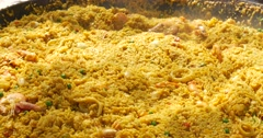Delicious Paella typical spanish food Stock Footage