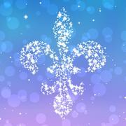 Starry fleur de lis silhouette on violet and blue background Stock Illustration