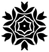 Abstract floral ornament in black on white - stock illustration