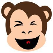 Monkey face expression isolated on white - stock illustration