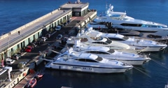 Luxury Yachts in Monaco Harbor 5K Stock Footage