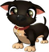 Beautiful black dog on a white background Stock Illustration
