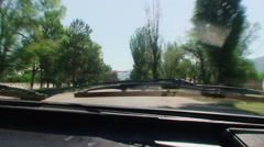 Kyrgyzstan, driving on bad country road. the view through the windshield Stock Footage