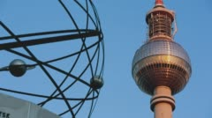 Berlin Fernsehturm with Worldclock Detail Stock Footage