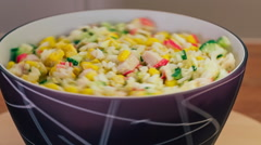Beautiful vegetable salad revolves around its axis Stock Footage