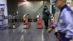 Train ticket barriers Tokyo Stock Footage