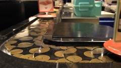 Conveyor Sushi and Chef, Tokyo Japan Stock Footage