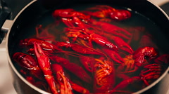 Crayfish are boiled in a pot Stock Footage