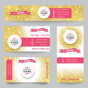 Stock Illustration of Set of identity templates with golden confetti theme. Vector