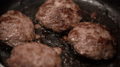 Frying pan cutlets are fried Stock Footage