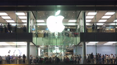 Time Lapse of Apple Store in the Downtown - stock footage