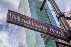 Street sign of Madison avenue in New York City - stock photo