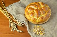 Home made bread, wheat and corn - stock photo