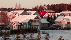 Beautiful cozy color houses in Finland - stock footage