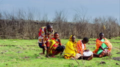 Massai women group Stock Footage