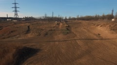 Motocross on DIY buggy near Hadjibey lake, Odessa. Aerial. Stock Footage