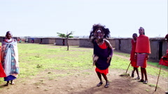 Massai jumping Stock Footage