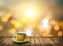 Tea cup on the wood in the bokeh city light Stock Photos