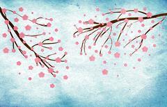 Grunge Cherry blossom - stock illustration