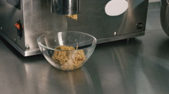 Culinary production. The ground nut. Kitchen equipment. Close-up Stock Footage