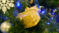 Decorated Christmas tree with box gifts Stock Footage