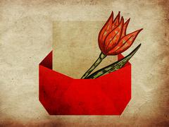 Envelope with tulip grunge background - stock illustration