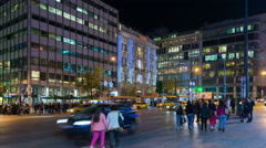 Time lapse of people walking at the central square of Athens. Stock Footage