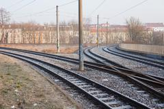 Streetcar rails in Frankfurt (Oder) Stock Photos