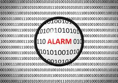 Binary code with ALARM and magnifying lens on white background Stock Illustration