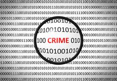 Binary code with CRIME and magnifying lens on white background - stock illustration