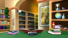 interior of the house of the scientist - stock illustration