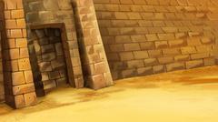 Entrance to the Egyptian pyramid. Stock Illustration