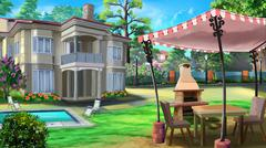 private house in the suburbs - stock illustration