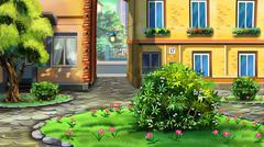 small urban garden - stock illustration