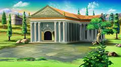 ancient Temple in Greece - stock illustration